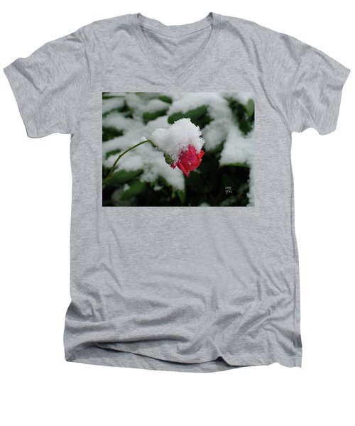 Too Soon Winter - Red Rose  Men's V-Neck T-Shirt by Shirley Heyn