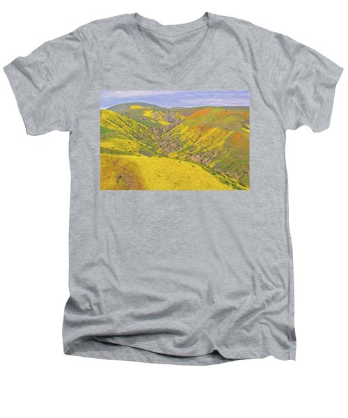 Men's V-Neck T-Shirt featuring the photograph Top Of The Temblor Range by Marc Crumpler