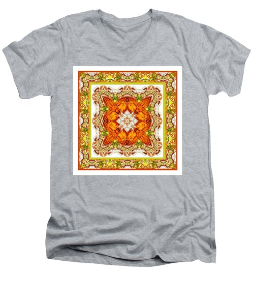 Topaz And Peridot Bling Kaleidoscope Men's V-Neck T-Shirt