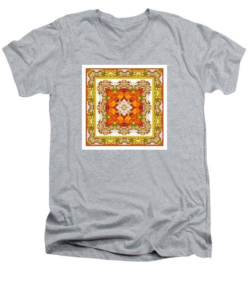 Topaz And Peridot Bling Kaleidoscope Men's V-Neck T-Shirt