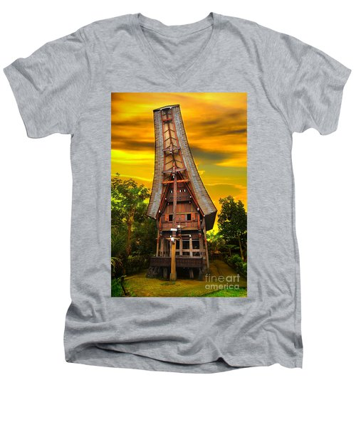 Men's V-Neck T-Shirt featuring the photograph Toraja Architecture by Charuhas Images