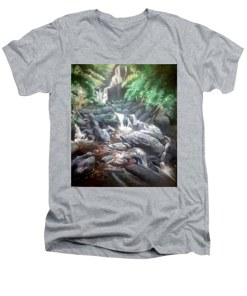Men's V-Neck T-Shirt featuring the painting Torc Waterfall County Kerry Ireland by Paul Weerasekera