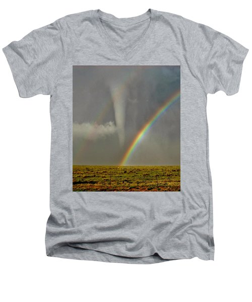 Tornado And The Rainbow II  Men's V-Neck T-Shirt by Ed Sweeney