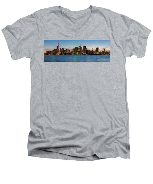 Men's V-Neck T-Shirt featuring the photograph Toronto Skyline At Dusk Panoramic by Adam Romanowicz