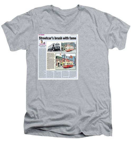 Men's V-Neck T-Shirt featuring the painting Toronto Sun Article Streetcars Brush With Fame by Kenneth M Kirsch