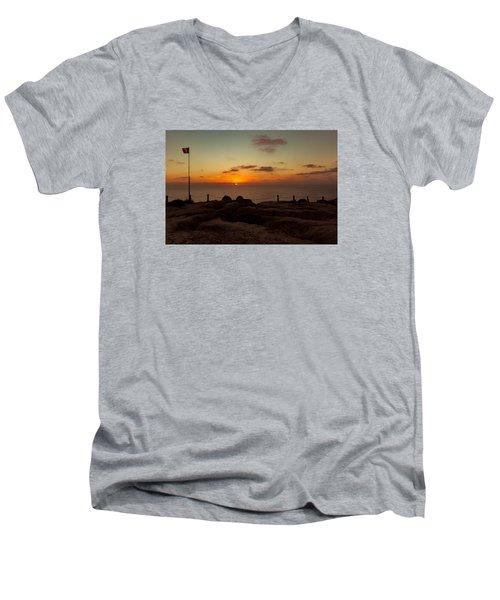 Torrey Pine Glider Port Sunset Men's V-Neck T-Shirt by Jeremy McKay