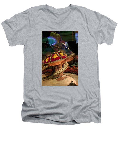 Tortoise In The Garden Men's V-Neck T-Shirt by Ivete Basso Photography