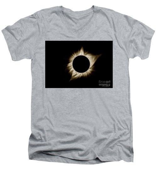 Total Solar Eclipse Corona Men's V-Neck T-Shirt