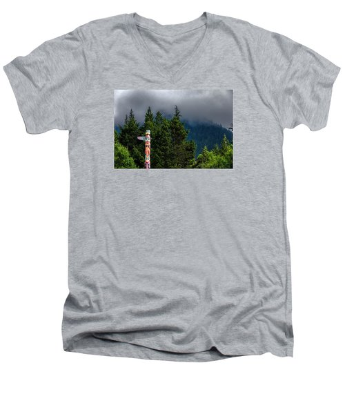 Men's V-Neck T-Shirt featuring the photograph Totem Pole by Lewis Mann