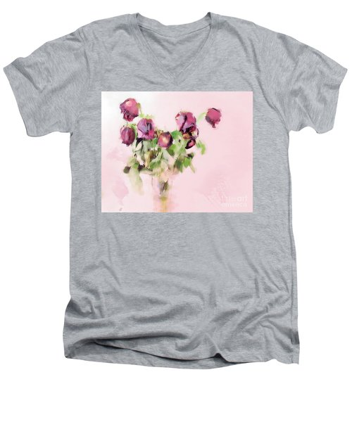 Men's V-Neck T-Shirt featuring the mixed media Touchable by Betty LaRue