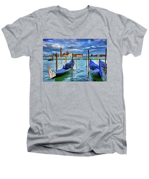 Gondolas And San Giorgio Di Maggiore In Venice, Italy Men's V-Neck T-Shirt