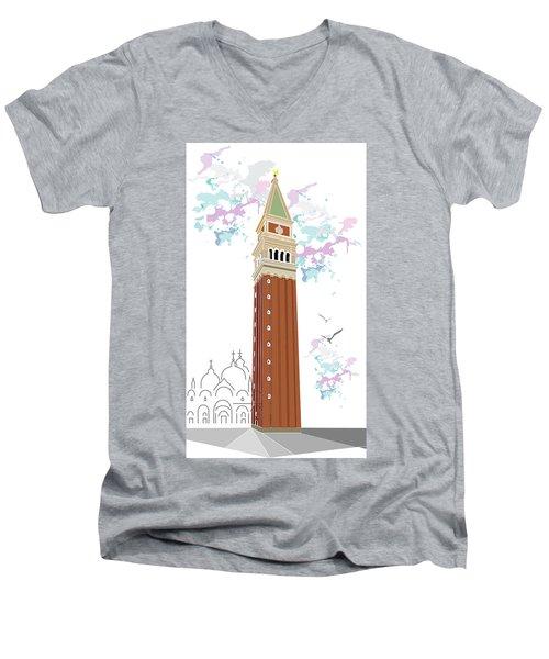 Tower Of Campanile In Venice Men's V-Neck T-Shirt