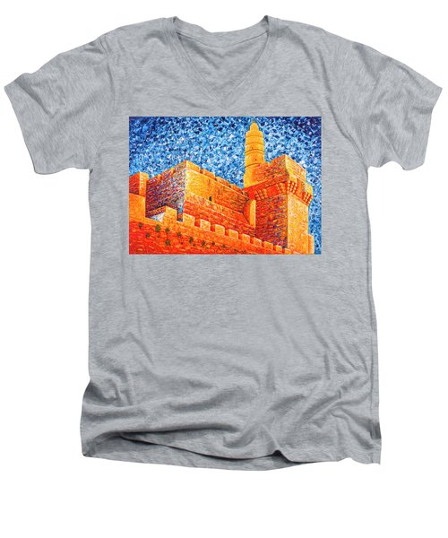 Men's V-Neck T-Shirt featuring the painting Tower Of David At Night Jerusalem Original Palette Knife Painting by Georgeta Blanaru
