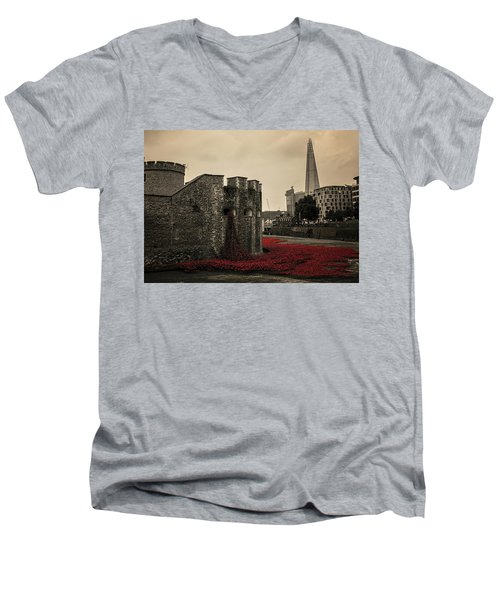 Tower Of London Men's V-Neck T-Shirt by Martin Newman