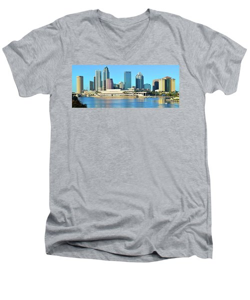 Men's V-Neck T-Shirt featuring the photograph Towers By The Bay by Frozen in Time Fine Art Photography