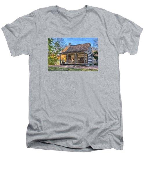 Town Creek Log Cabin In Fall Men's V-Neck T-Shirt