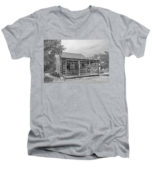 Town Creek Log Cabin Men's V-Neck T-Shirt