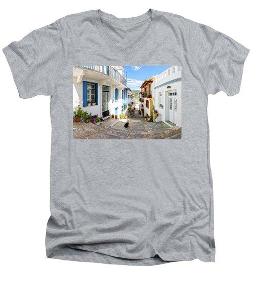Town Of Skopelos Men's V-Neck T-Shirt