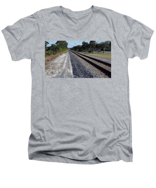 Tracks Hobe Sound, Fl Men's V-Neck T-Shirt by John Wartman