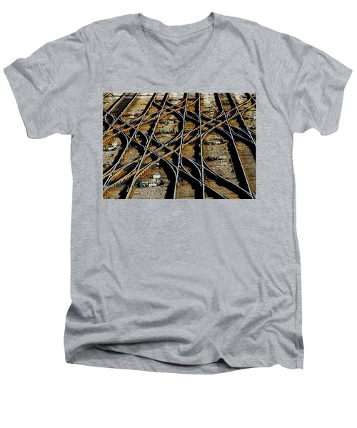 Men's V-Neck T-Shirt featuring the photograph Tracks Of Abandon by Michael Nowotny