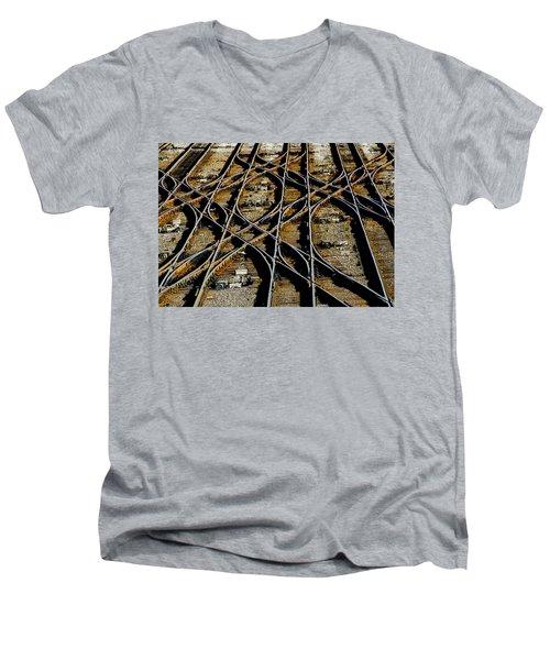 Tracks Of Abandon Men's V-Neck T-Shirt by Michael Nowotny