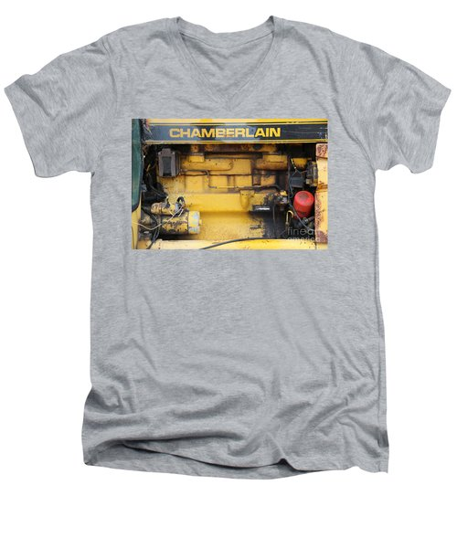 Men's V-Neck T-Shirt featuring the photograph Tractor Engine Iv by Stephen Mitchell