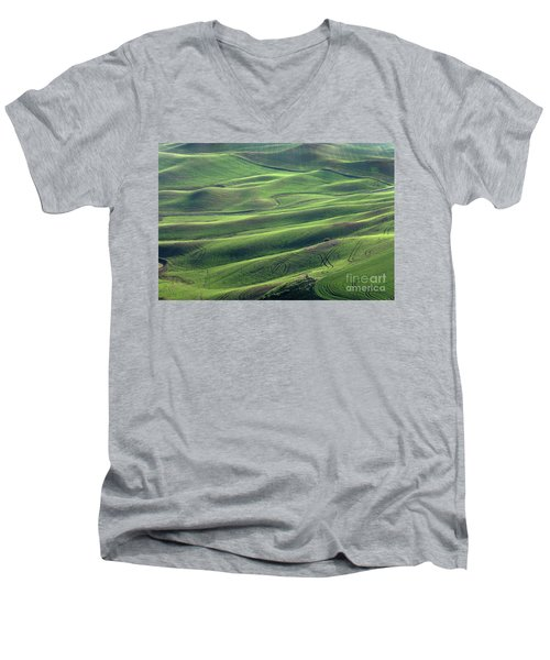 Tractor Tracks Agriculture Art By Kaylyn Franks Men's V-Neck T-Shirt