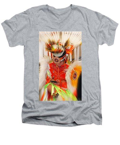 Tradition Meets Technology Men's V-Neck T-Shirt by Audrey Robillard