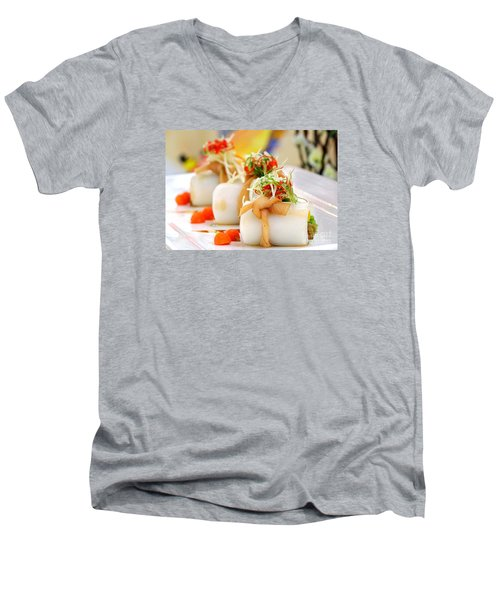 Traditional Chinese Hakka Rice Noodle Roll Men's V-Neck T-Shirt