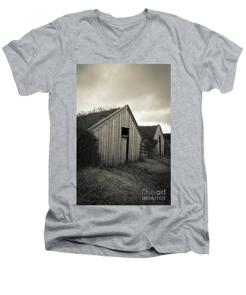 Men's V-Neck T-Shirt featuring the photograph Traditional Turf Or Sod Barns Iceland by Edward Fielding