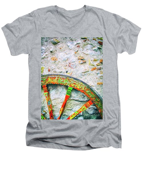 Men's V-Neck T-Shirt featuring the photograph Traditional Sicilian Cart Wheel Detail by Silvia Ganora