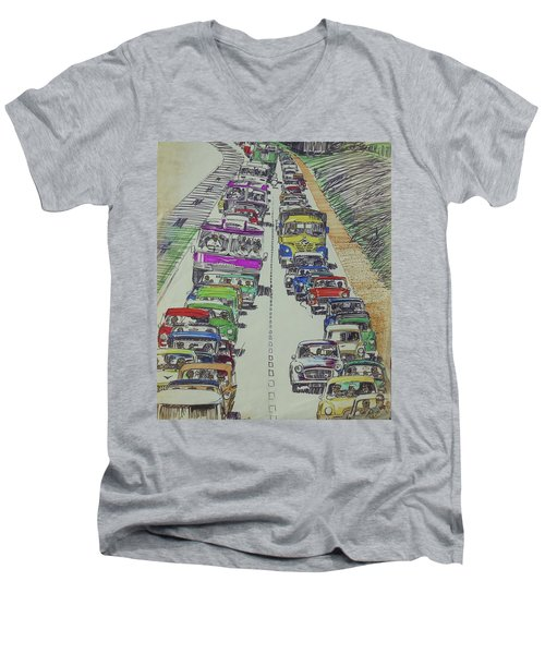 Men's V-Neck T-Shirt featuring the drawing Traffic 1960s. by Mike Jeffries