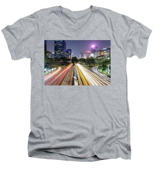 Traffic Night Rush In Jakarta, Indonesia Capital City.  Men's V-Neck T-Shirt