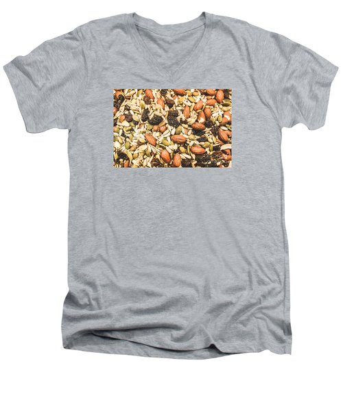 Men's V-Neck T-Shirt featuring the photograph Trail Mix Background by Jorgo Photography - Wall Art Gallery