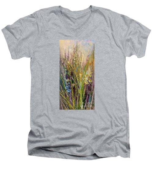 Men's V-Neck T-Shirt featuring the painting Trail Of Beauty by Tatiana Iliina