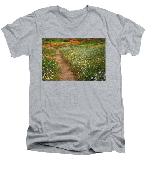 Men's V-Neck T-Shirt featuring the photograph Trail Of Wildflowers At Diamond Lake In California by Jetson Nguyen