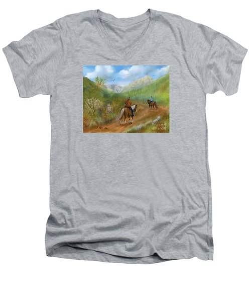 Trail Ride In Sabino Canyon Men's V-Neck T-Shirt