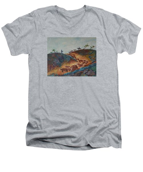 Trailin' Em Down Men's V-Neck T-Shirt by Willoughby Senior and Dawn Senior-Trask