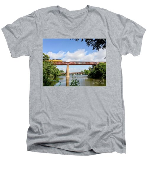Train Across Lady Bird Lake Men's V-Neck T-Shirt by Felipe Adan Lerma