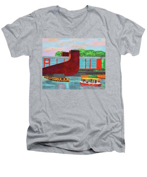 Train Over The New River Men's V-Neck T-Shirt