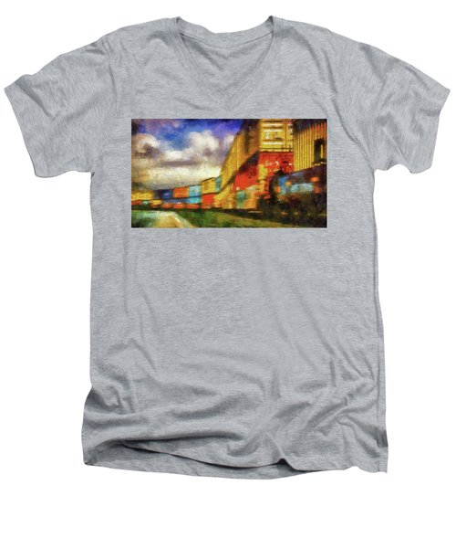Train Freight Cars Men's V-Neck T-Shirt by Joseph Hollingsworth