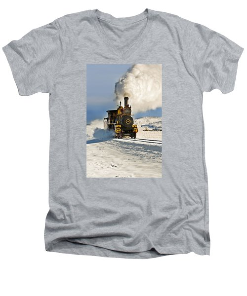 Train In Winter Men's V-Neck T-Shirt