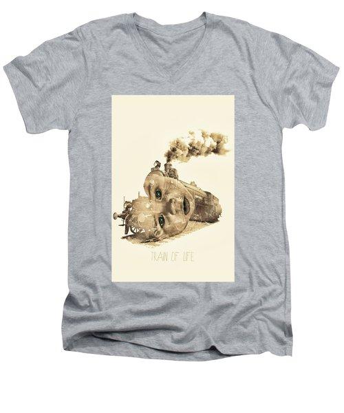 Train Of Life Men's V-Neck T-Shirt by Mauro Mondin