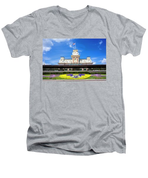 Men's V-Neck T-Shirt featuring the photograph Train Station by Greg Fortier