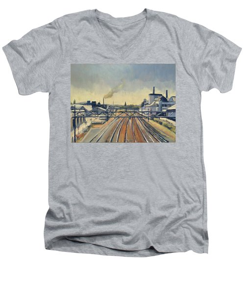 Train Tracks Maastricht Men's V-Neck T-Shirt