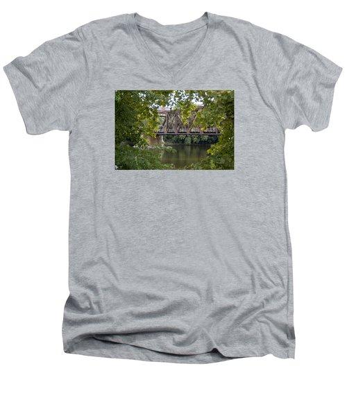 Men's V-Neck T-Shirt featuring the photograph Train Trestle by Michael Dorn