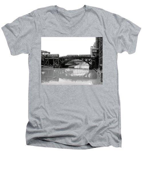Men's V-Neck T-Shirt featuring the photograph Trains Cross Jack Knife Bridge - Chicago C. 1907 by Daniel Hagerman