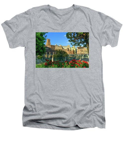 Trajan's Forum, Traiani, Roma, Italy Men's V-Neck T-Shirt by Elenarts - Elena Duvernay photo