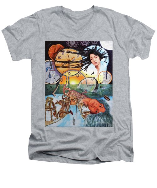Trampas Del Tiempo Men's V-Neck T-Shirt by Jorge L Martinez Camilleri