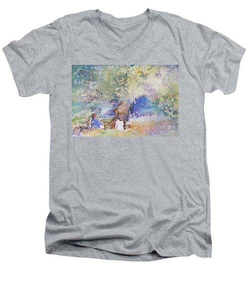 Tranquility At The Brandywine River Men's V-Neck T-Shirt by Mary Haley-Rocks